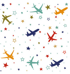 seamless baby pattern with flying planes and stars vector image