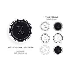 set of black logos in the style of the stamp vector image