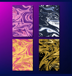 set of cards with marble liquid texture vector image