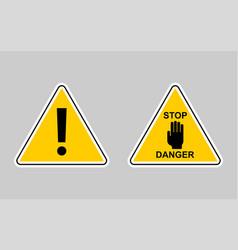 set of warning - icon warning yellow sign vector image