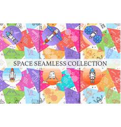 Set space memphis seamless patterns vector