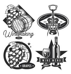 set wine vintage emblems vector image