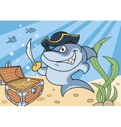 Shark pirate and treasure chest 2 vector