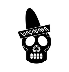 Skull in hat day of the dead mexican celebration vector