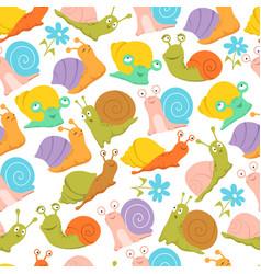 snail seamless pattern fashion kids endless vector image
