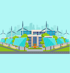 solar panels with wind turbines in city vector image