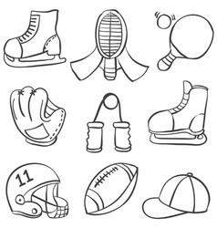 Sport equipment various vector
