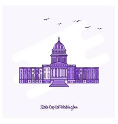 state capital washington landmark purple dotted vector image