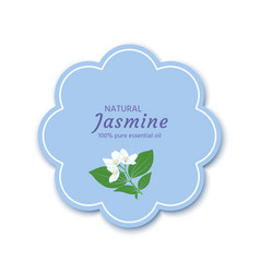 Sticker label frame with a jasmine flower vector