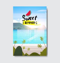 sweet summer landscape palm tree beach badge vector image
