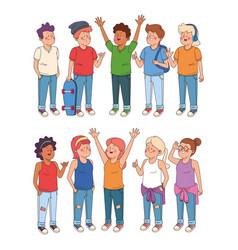 Teenagers boys and girls cartoons vector