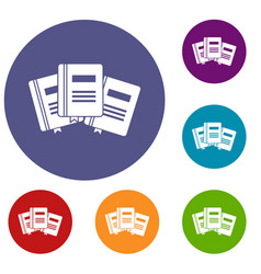 three books with bookmarks icons set vector image