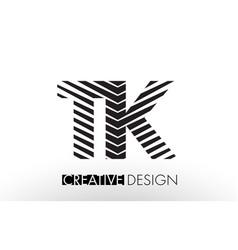 Tk t k lines letter design with creative elegant vector