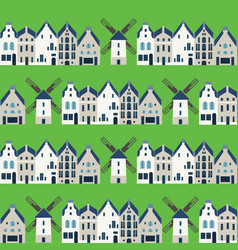 traditional dutch houses and mills - seamless vector image