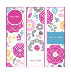 Vibrant floral scaterred vertical banners set vector