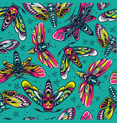 vintage colorful insects seamless pattern vector image