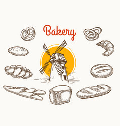vintage traditional bakery products sketch vector image