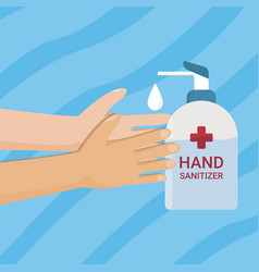 washing hand with soap hand sanitizer vector image