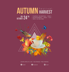 Watercolor autumn poster vector