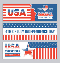Web banners of usa independence day design vector