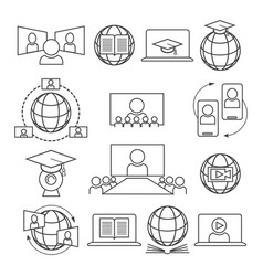 webinar online learning icon set vector image