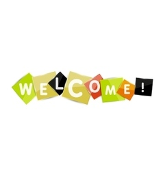 Welcome word on color square paper pieces vector image