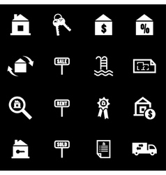 white real estate icon set vector image vector image
