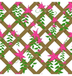 wicker with pink flowers vector image