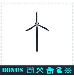Windmill icon flat vector