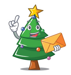 With envelope christmas tree character cartoon vector