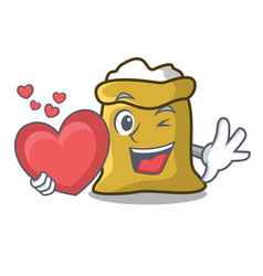 with heart flour mascot cartoon style vector image