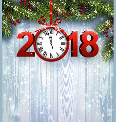 wooden 2018 new year background vector image