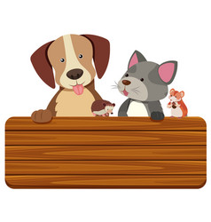 wooden sign with cat and dog in background vector image