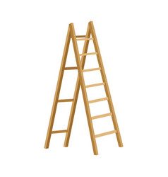 Wooden step folding ladder on vector
