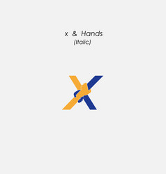 x - letter abstract icon amp hands logo design vector image