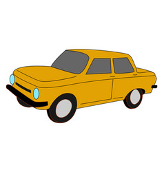 yellow car on white background vector image