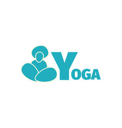 yoga logo design template with man silhouette vector image