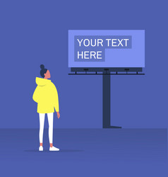 Your text here mockup outdoor advertising young vector