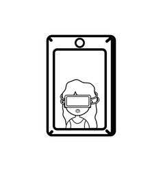 line girl with 3d glasses inside smartphone vector image vector image