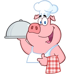 Pig Chef Holding A Platter Sign vector image vector image