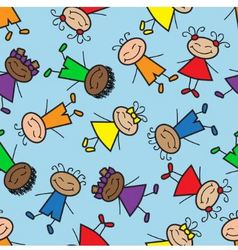 seamless background with cartoon kids vector image vector image