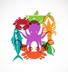 set of seafood symbols vector image vector image