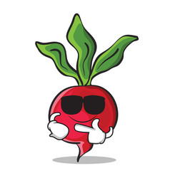 super cool radish character cartoon collection vector image