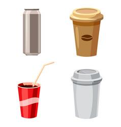 fast drinks icon set cartoon style vector image