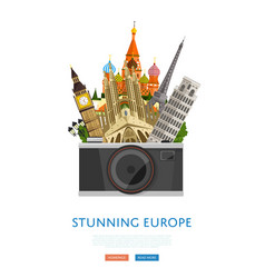 stunning europe poster with famous attractions vector image vector image