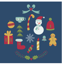 cartoon christmas elements set vector image vector image