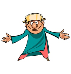 cartoon man with a saucepan on her head standing vector image vector image