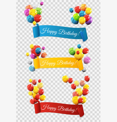 group of colour glossy helium balloons with ribbon vector image vector image