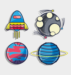 rocket with different planets in the galaxy space vector image vector image