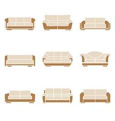 Set of stylish sofas vector image vector image